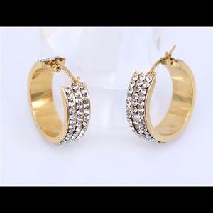 Jewelry - GOLD CRYSTAL HOOP EARRINGS